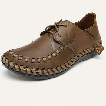 【HaoxinG】款D880131卡其色男士真皮手工縫制休閑鞋牛皮鞋豆豆鞋春夏透氣潮男鞋(JHS杰恆社)