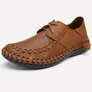 【HaoxinG】款D880131淺棕色男士真皮手工縫制休閑鞋牛皮鞋豆豆鞋春夏透氣潮男鞋(JHS杰恆社)