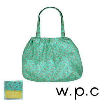 【w.p.c】時尚包包雨衣/束口防雨袋(綠底小花)