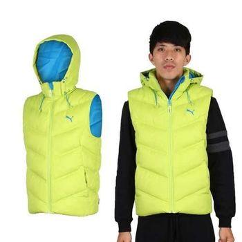 【PUMA】男連帽羽絨背心 芥末綠藍  100%聚酯纖維