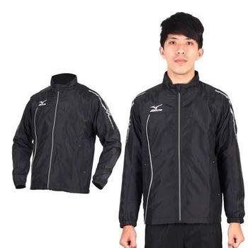 【MIZUNO】男半長風衣外套- 發熱衣 防潑水 美津濃 黑銀  發熱內裡材質