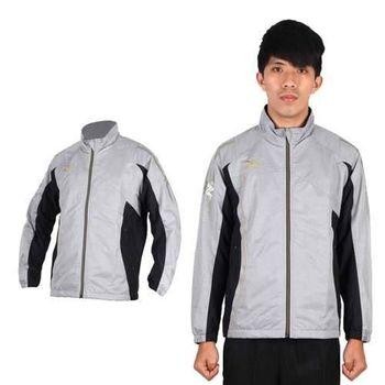 【MIZUNO】男半長風衣外套- 發熱衣 防潑水 美津濃 淺灰金 發熱內裡材質
