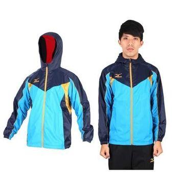 【MIZUNO】男半長風衣外套- 發熱衣 防潑水 美津濃 水藍丈青  吸濕速乾