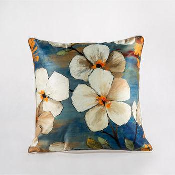 【協貿】中國風加厚仿真絲植物花卉第二款沙發抱枕含芯
