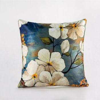 【協貿】中國風加厚仿真絲植物花卉第一款沙發抱枕含芯