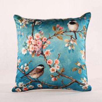 【協貿】新古典中式現代高檔仿真絲雙鳥如意沙發抱枕含芯