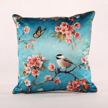【協貿】新古典中式現代高檔仿真絲單鳥吉祥沙發抱枕含芯