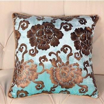 【協貿】歐式奢華古典花絨燙金高檔沙發抱枕含芯