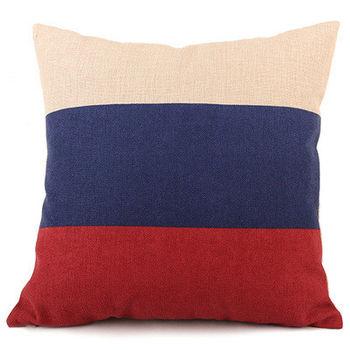 【協貿】鄉村復古簡約田園加厚棉麻紅藍條紋布藝沙發抱枕含芯