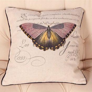 【協貿】美式棉麻蝴蝶捲邊復古紫色蝴蝶沙發抱枕含芯