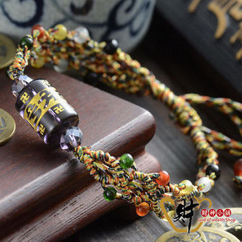 【財神小舖】六字箴言(人緣紫)五行珠五色線手鍊《含開光》排除負面能量,提升運勢