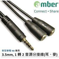 amber PC ^#47 NB 音源線 3.5mm 1轉2音源分接線 ^#40 耳機 ^