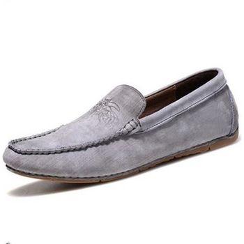【HaoxinG】款15DK1556灰色春夏新款真皮豆豆鞋男休閑鞋磨砂透氣手工鞋英倫潮鞋(JHS杰恆社)