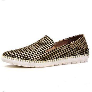 【HaoxinG】款15DK7356黃色男士休閑鞋春夏真皮透氣懶人鞋韓版小羊皮鞋套腳潮鞋(JHS杰恆社)