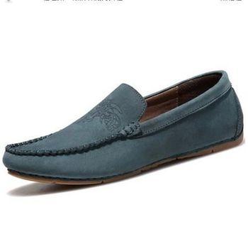 【HaoxinG】款15DK1556藍灰春夏新款真皮豆豆鞋男休閑鞋磨砂透氣手工鞋英倫潮鞋(JHS杰恆社)