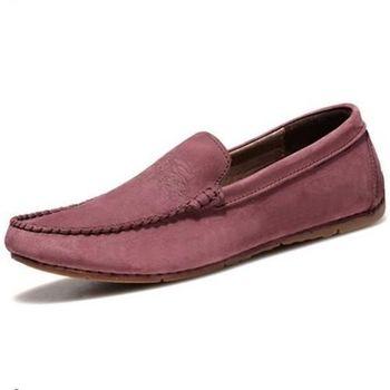 【HaoxinG】款15DK1556紫紅春夏新款真皮豆豆鞋男休閑鞋磨砂透氣手工鞋英倫潮鞋(JHS杰恆社)