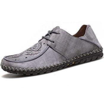 【HaoxinG】款15DK8356灰色春夏新款真皮豆豆鞋男休閑鞋磨砂透氣手工鞋英倫潮鞋(JHS杰恆社)