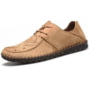 【HaoxinG】款15DK8356黃棕春夏新款真皮豆豆鞋男休閑鞋磨砂透氣手工鞋英倫潮鞋(JHS杰恆社)