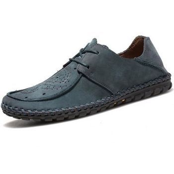 【HaoxinG】款15DK8356藍灰春夏新款真皮豆豆鞋男休閑鞋磨砂透氣手工鞋英倫潮鞋(JHS杰恆社)