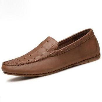 【HaoxinG】款15DK7656-1黃棕真皮頭層皮豆豆鞋子透氣套腳懶人鞋英倫鞋男士休閑鞋(JHS杰恆社)