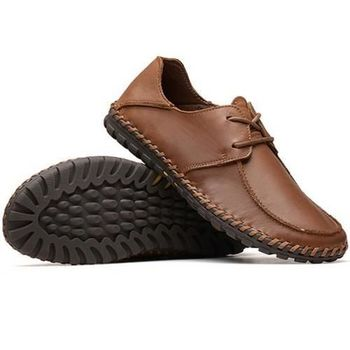 【HaoxinG】款15DK5656棕色新款真皮日常休閑鞋英倫時尚純手工鞋子男士休閑皮鞋(JHS杰恆社)