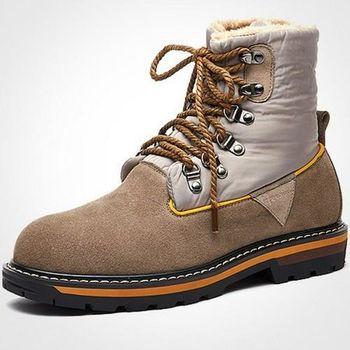 【HaoxinG】款D685741淺棕色時尚男靴真皮靴子英倫馬丁靴男士棉鞋潮流加毛短軍靴子(JHS杰恆社)