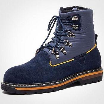 【HaoxinG】款D685741深藍色時尚男靴真皮靴子英倫馬丁靴男士棉鞋潮流加毛短軍靴子(JHS杰恆社)