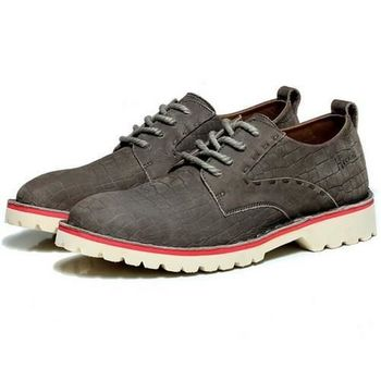 【HaoxinG】款D183541深灰色秋季新款韓版透氣鞋男士休閑鞋真皮頭層牛皮鞋潮流鞋(JHS杰恆社)
