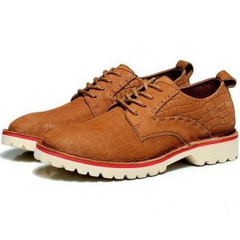 【HaoxinG】款D183541淺棕色秋季新款韓版透氣鞋男士休閑鞋真皮頭層牛皮鞋潮流鞋(JHS杰恆社)