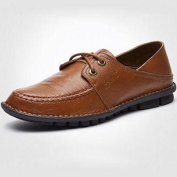 【HaoxinG】款D743541棕色秋冬新款舒適休閑男鞋系帶真皮商務休閑男士手工真皮鞋(JHS杰恆社)