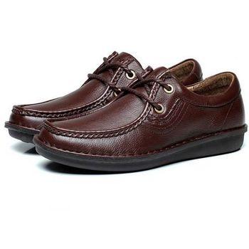 【HaoxinG】款D891541棕色秋冬新款真皮頭層皮休閑皮鞋板鞋時尚英倫低幫流行男鞋(JHS杰恆社)