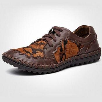 【HaoxinG】款D250541紅棕色秋冬男鞋真皮拼色休閑鞋豆豆鞋歐美潮鞋懶人鞋縫制鞋(JHS杰恆社)