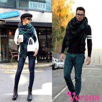 【Verona】秋冬男女時尚經典款格紋流蘇圍巾大披肩
