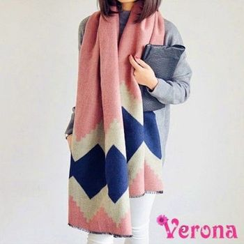 【Verona】笛筠幾何雙面羊絨拼接保暖大圍巾披肩