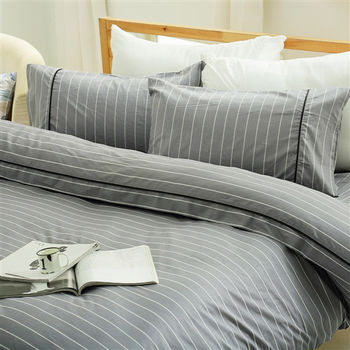 HO KANG 精梳棉雙人加大床包+雙人鋪棉被套組-簡約灰