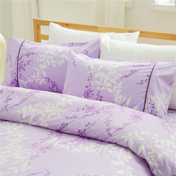 HO KANG 精梳棉雙人床包鋪棉被套組-香頌