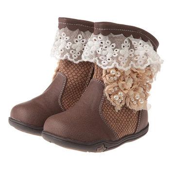 《布布童鞋》古典蕾絲緹花內裡鋪絨皮革靴(16~16.5cm)ML9114I
