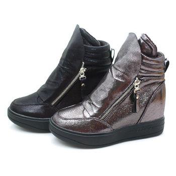 【 cher美鞋】│內增高│ 運動甜心太空靴.錫色款  (黑/錫色)  5555-1-125