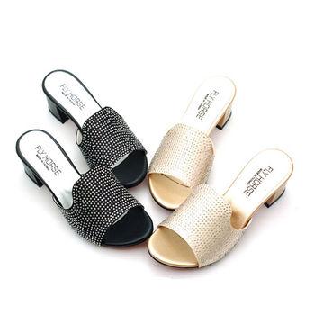 【 cher美鞋】繽紛寶石高跟涼拖  (黑 金2色)  499-192