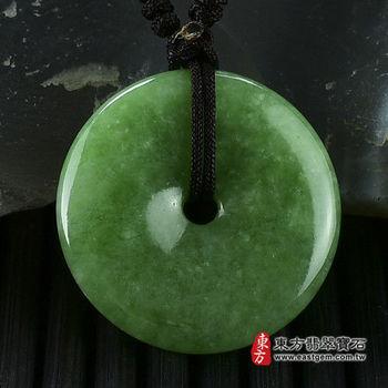 【東方翡翠寶石】平安扣A貨翡翠玉珮吊墜(綠色豆種) PN018