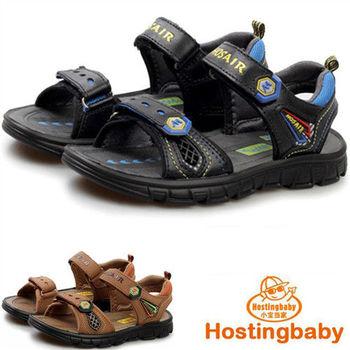(預購)【Hostingbaby】0152童鞋新款兒童涼鞋真皮男童涼鞋軟底防滑沙灘鞋韓版潮