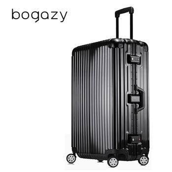 【Bogazy】迷幻森林 29吋鋁框PC鏡面行李箱(尊榮黑)