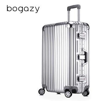 【Bogazy】迷幻森林 29吋鋁框PC鏡面行李箱(紳士銀)