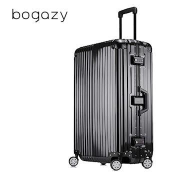 【Bogazy】迷幻森林 26吋鋁框PC鏡面行李箱(尊榮黑)