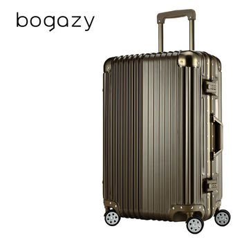 【Bogazy】迷幻森林 24吋鋁框PC鏡面行李箱(摩卡棕)