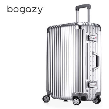 【Bogazy】迷幻森林 20吋鋁框PC鏡面行李箱/登機箱(紳士銀)