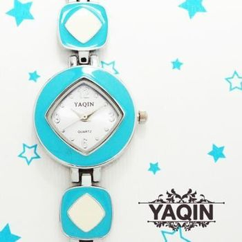 YAQIN 亮彩菱格淑女鍊錶