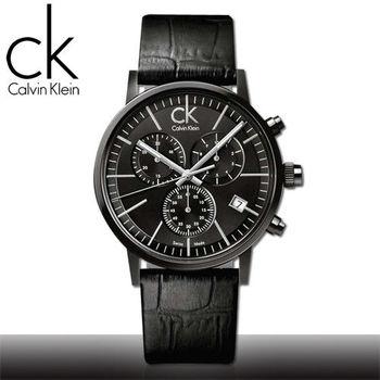 【瑞士 CK手錶 Calvin Klein】三眼計時_原廠小牛皮皮帶_夜光指針_紳士錶(K7627401)