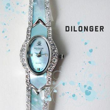 DILONGER 橢圓氣質鑲鑽珠貝細鍊錶 手錶