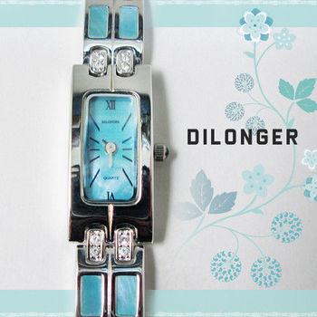 DILONGER 方形氣質鑲鑽珠貝細鍊錶 手錶